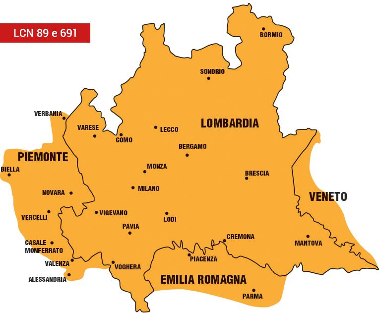 Mappa della copertura del segnale tv con LCN 89 e 691